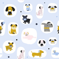 Seamless pattern with cool dogs. Kids trendy print. Vector hand drawn illustration.