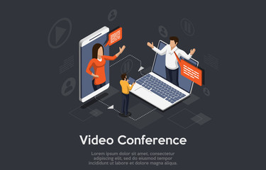 Isometric video conference banner. 2 Men and a woman on the phone and notebook holds a video conference. People listen to the lecturer.