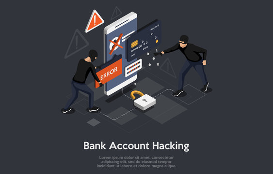 Isometric bank account hacker attack and personal data security concept. Computer security technology.