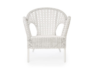 Wicker armchair isolated on white background