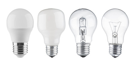 Set of light bulbs close up isolated on white background