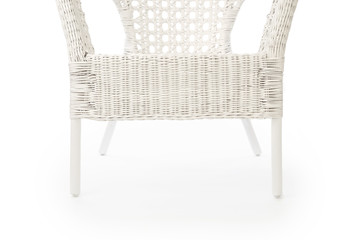 Wicker armchair close up on white background