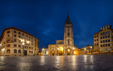 Oviedo, Spain. Panoramic view of Plaza Alfonso II el Casto with Cathedral at dusk