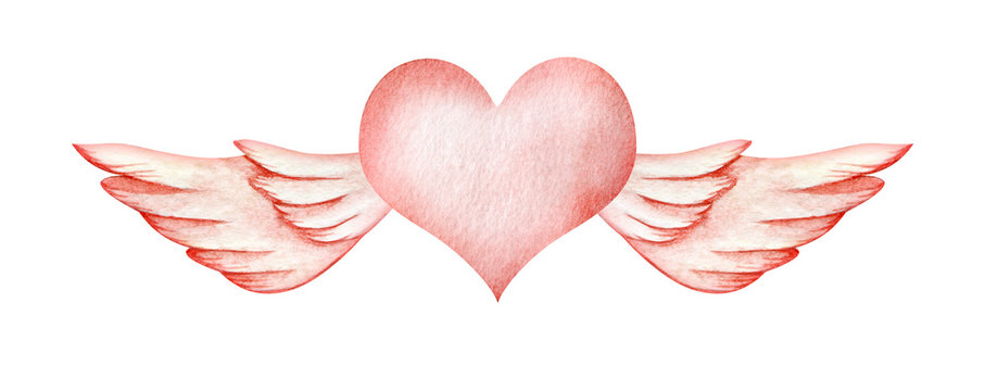 Abstract watercolor decorative element. Gently pink flying heart. A heart with angel wings. Valentine's day postcard. Background for text. textured hand-drawn illustration.