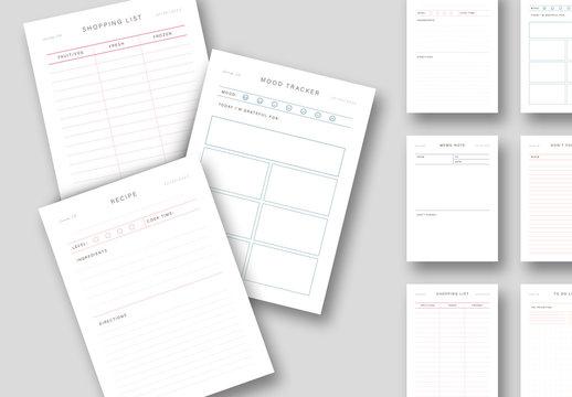 Minimalist Set of Planner Layouts