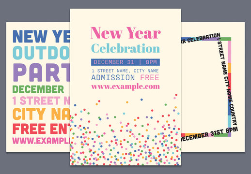 New Year Graphic Poster Layout Pack