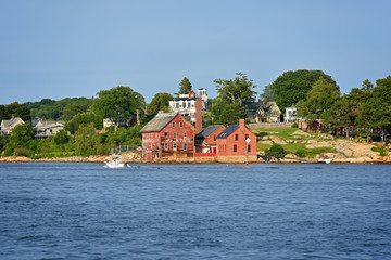 Tarr and Wonson Paint Manufactory is one of the most famous landmarks on the North Shore Massachusetts in Gloucester Harbor, Massachusetts MA, USA.