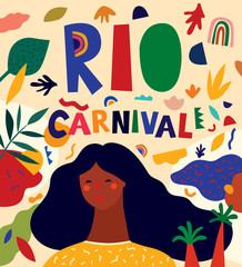 Fototapete - Colorful pattern with abstract stylish individual design elements. Design for holidays Brazil Carnival or party
