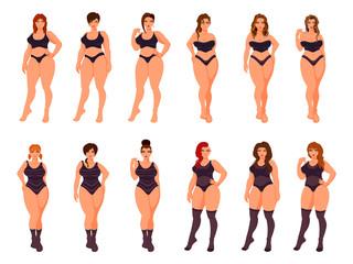 Plus size women models in underwear. Vector illustration.