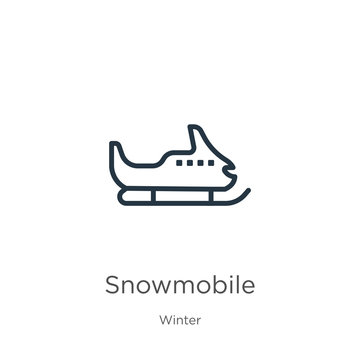 Snowmobile icon. Thin linear snowmobile outline icon isolated on white background from winter collection. Line vector snowmobile sign, symbol for web and mobile