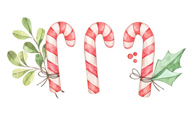 Christmas candy cane with eucalyptus, fir branch, greenery. Watercolor illustration. Happy new year. Winter design elements. Perfect for cards, invitations, banners, posters