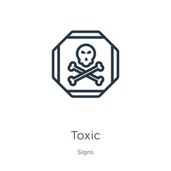 Toxic symbol icon. Thin linear toxic symbol outline icon isolated on white background from signs collection. Line vector toxic symbol sign, symbol for web and mobile