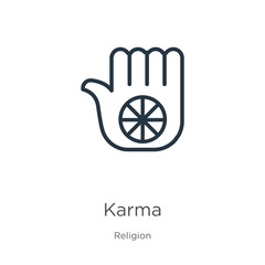 Karma icon. Thin linear karma outline icon isolated on white background from religion collection. Line vector karma sign, symbol for web and mobile