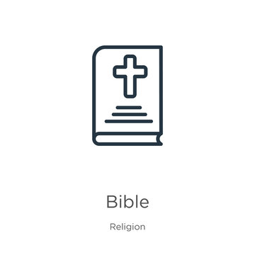 Bible icon. Thin linear bible outline icon isolated on white background from religion collection. Line vector bible sign, symbol for web and mobile