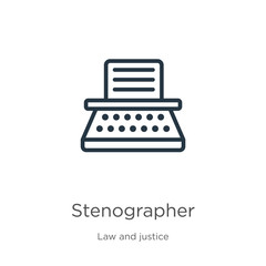 Stenographer icon. Thin linear stenographer outline icon isolated on white background from law and justice collection. Line vector stenographer sign, symbol for web and mobile