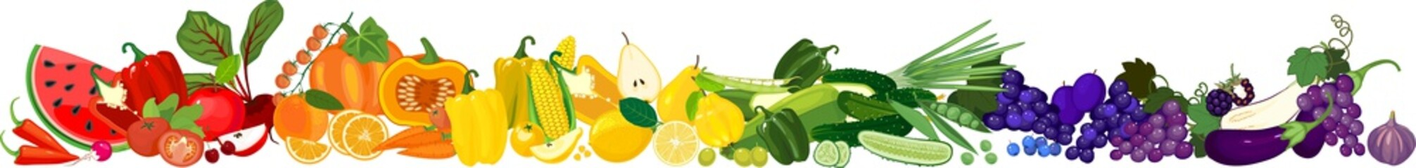 Wall Mural - Big set of different ripe fruits and vegetables in all colors of rainbow. Vegetables and fruits border