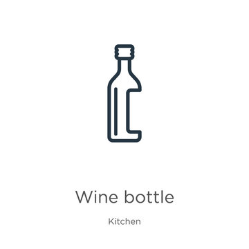 Wine bottle icon. Thin linear wine bottle outline icon isolated on white background from kitchen collection. Line vector wine bottle sign, symbol for web and mobile