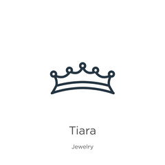 Tiara icon. Thin linear tiara outline icon isolated on white background from jewelry collection. Line vector tiara sign, symbol for web and mobile