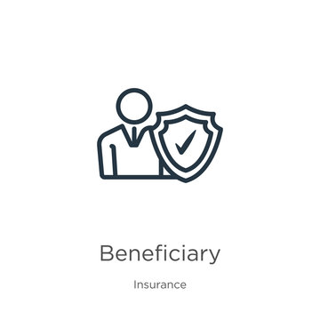 Beneficiary icon. Thin linear beneficiary outline icon isolated on white background from insurance collection. Line vector beneficiary sign, symbol for web and mobile