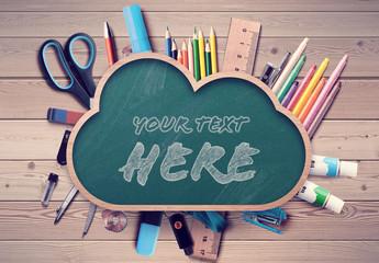 Back to School Chalkboard Cloud Mockup