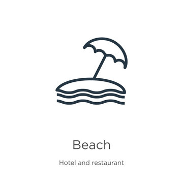 Beach icon. Thin linear beach outline icon isolated on white background from hotel collection. Line vector beach sign, symbol for web and mobile