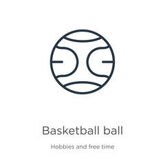 Basketball ball icon. Thin linear basketball ball outline icon isolated on white background from hobbies and free time collection. Line vector basketball ball sign, symbol for web and mobile