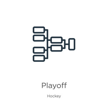 Playoff icon. Thin linear playoff outline icon isolated on white background from hockey collection. Line vector playoff sign, symbol for web and mobile