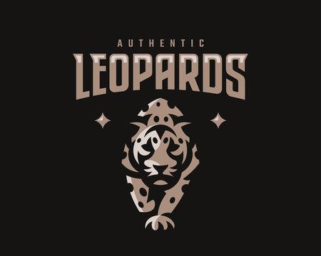 Leopard modern mascot logo. Jaguar emblem design editable for your business. Vector illustration.
