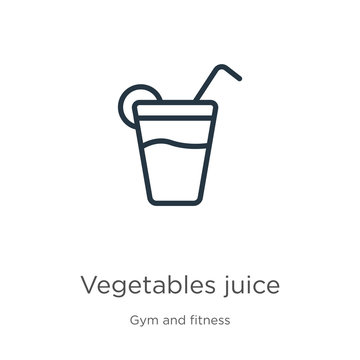 Vegetables juice icon. Thin linear vegetables juice outline icon isolated on white background from gym and fitness collection. Line vector vegetables juice sign, symbol for web and mobile