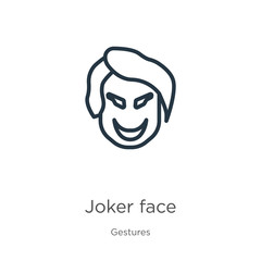 Joker face icon. Thin linear joker face outline icon isolated on white background from gestures collection. Line vector joker face sign, symbol for web and mobile