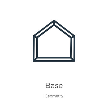 Base icon. Thin linear base outline icon isolated on white background from geometry collection. Line vector base sign, symbol for web and mobile