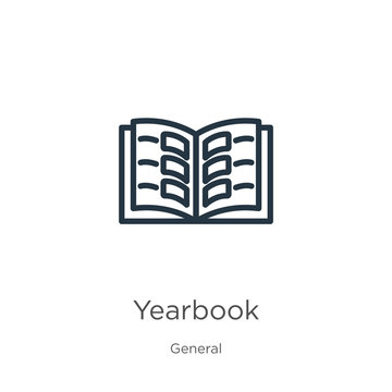 Yearbook icon. Thin linear yearbook outline icon isolated on white background from general collection. Line vector yearbook sign, symbol for web and mobile