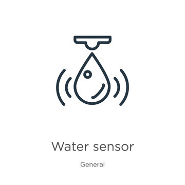 Water sensor icon. Thin linear water sensor outline icon isolated on white background from general collection. Line vector water sensor sign, symbol for web and mobile