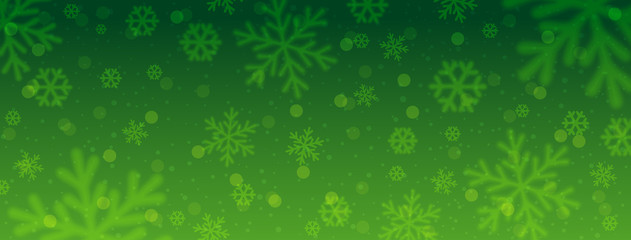 Wall Mural - Green christmas banner with blurred snowflakes. Merry Christmas and Happy New Year greeting banner. Horizontal new year background, headers, posters, cards, website. Vector illustration