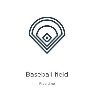 Baseball field icon. Thin linear baseball field outline icon isolated on white background from free time collection. Line vector baseball field sign, symbol for web and mobile