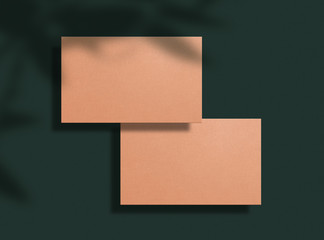 Mockup of two color-nude business cards on a green background. Template for corporate identity....