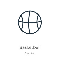 Basketball icon. Thin linear basketball outline icon isolated on white background from education collection. Line vector basketball sign, symbol for web and mobile