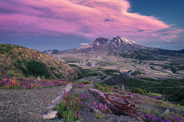 colorful cloud formation over volcanic mountain with flowers in foreground