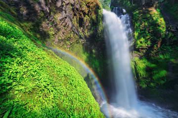 waterfall in forest with rainbow