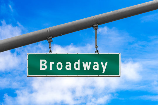 Broadway street sign haning from pole