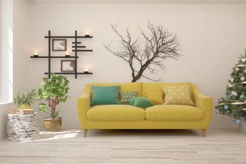 Winter new year interior of living room with sofa. Scandinavian design. 3D illustration
