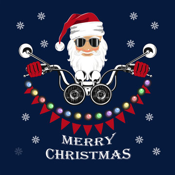Santa Claus driving a motorcycle decorated with garlands of light bulbs and flags. Merry Christmas.
