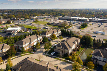 Townhouses and Shopping Center Aerial