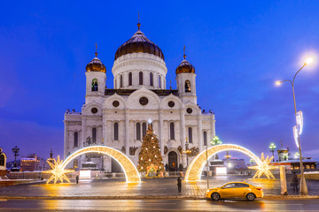 Christmas in Moscow. Cathedral of Christ the Savior