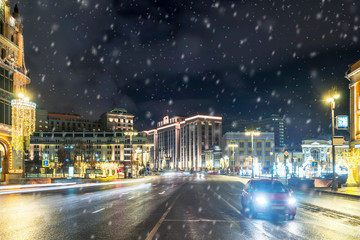 Winter Moscow street. View of the State Duma of the Russian Federation