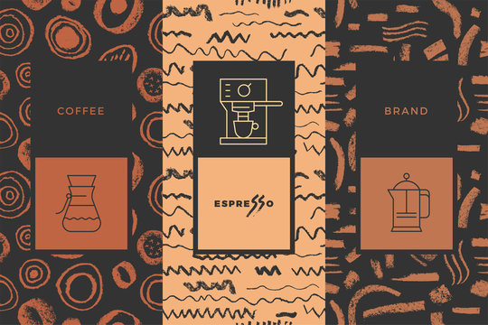 Coffee line icon with abstract seamless pattern, vector creative background. Coffee shop emblem, cafe menu, packaging design, organic coffee logo, take away coffee, 100% arabica badge.