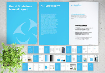 Brand Guidelines Manual Layout with Blue Accents