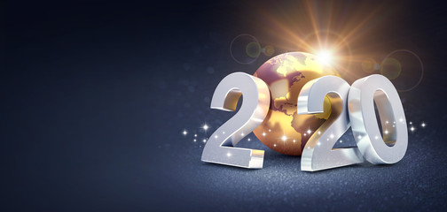 Worldwide greeting symbol for 2020 New Year card