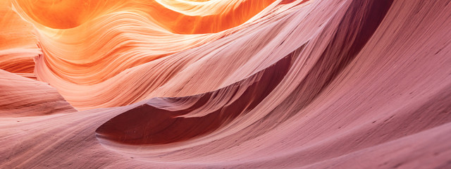 Foto auf Gartenposter Rotglühen Canyon Antelope abstract background. Famous slot Canyon near Pager, Arizona. Beautiful texture and colors.