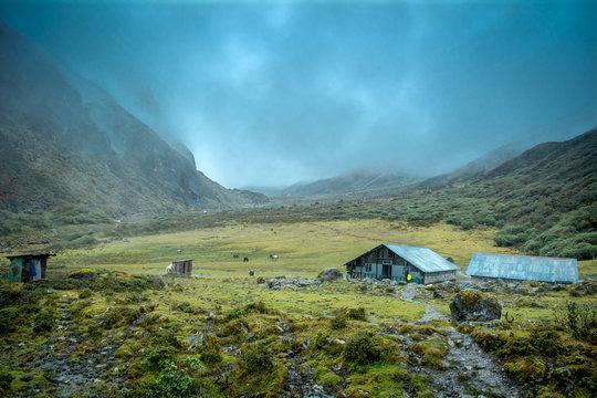 Trekkers' hut at Thansing, Sikkim, India